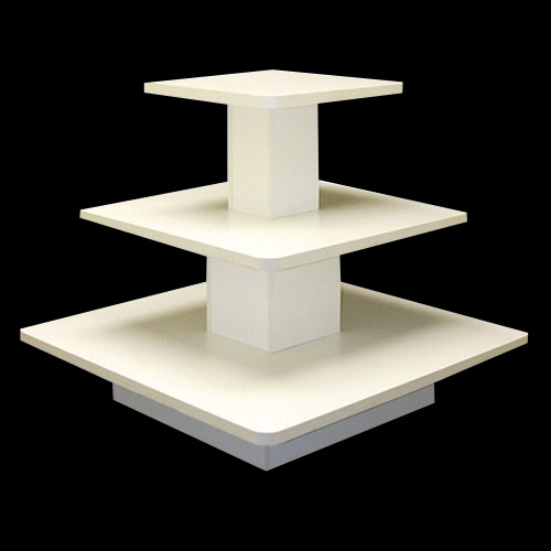 Ref 0902 3 Tier Square Table Display Unit White Finish